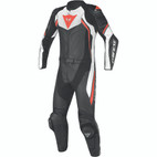 Dainese Avro D2 Two Piece Perforated Leather Suit Black/White/Fluorescent Yellow