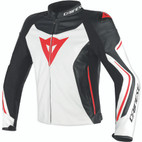 Dainese Assen Leather Jacket White/Black/Lava Red