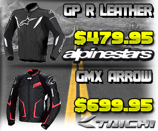 Taichi GMX Arrow Leather Jacket and Alpinestars GP-R Jacket