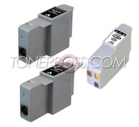 Compatible Canon BCI-24 Set of 3 Ink Cartridges: 2 Black & 1 Color