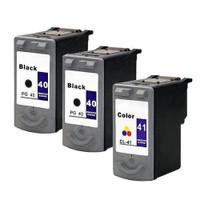 Compatible Canon PG-40, CL-41 Set of 3 Ink Cartridges: 2 Black & 1 Color