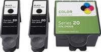 Remanufactured Dell Series 20 DW905, DW906 Set of 3 Ink Cartridges: 2 Black & 1 Color
