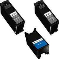 Remanufactured Dell Series 21 Set of 3 Ink Cartridges: 2 Black & 1 Color