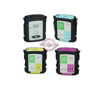 Remanufactured HP 82 - Set of 4 Ink Cartridges: 1 each of Black, Cyan, Yellow, Magenta