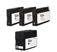 Remanufactured HP 932XL, 933XL Set - Set of 4 InkJet Cartridges: 1 each of Black, Cyan, Yellow, Magenta
