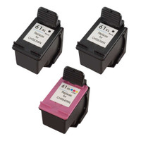 Remanufactured HP 61XL Set of 3 High Yield Ink Cartridges: 2 Black & 1 Color