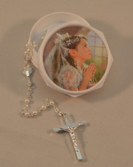 First Holy Communion White Rosary and Picture Rosary Case