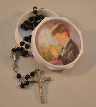First Holy Communion Black Rosary and Picture Rosary Case