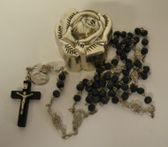Blue Rose-Scented Rosary in a Metal Rose Shaped Box
