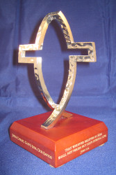 """Dimensions of Christ - CrossFish on Wood Base,  6.25""""H"""