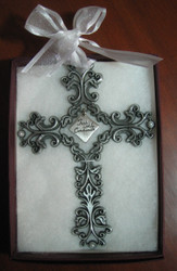 First Holy Communion Pewter Filigree Wall Cross - White Ribbon, 5""