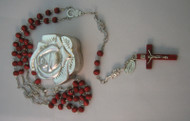 Rose Scented Wood Bead Rosary in a Metal Rose Shaped Box