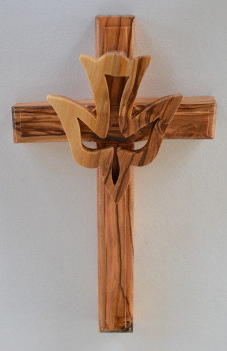 Olive wood cross with descending dove