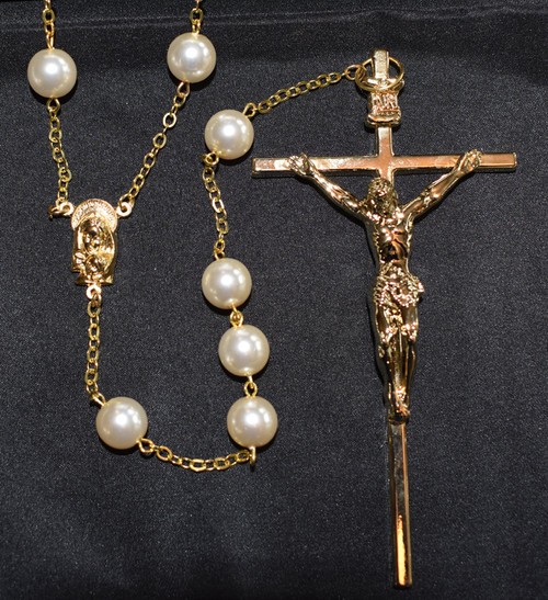 Ivory pearl lasso rosary, 3