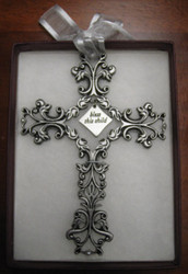 """Bless This Child - Pewter Filigree Wall Cross - White, 5"""""""