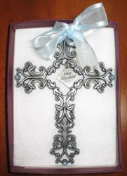 """Bless This Child - Pewter Filigree Wall Cross - Blue, 5"""""""