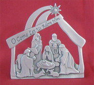 Standing pewter nativity scene