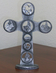Miracles of Jesus Pewter Tabletop Cross - 5""