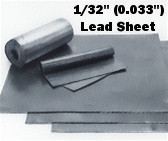 "Sheet Lead 1/32"" ~2 lbs./SQ FT 1' x 3'"
