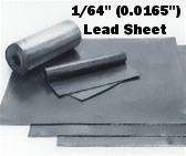 "Sheet Lead 1/64"" ~1 lb./SQ FT 1' x 2'"