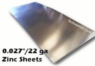 """.027"""" Zinc Sheet -  22 Gauge"""