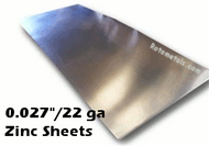 ".027"" Zinc Sheet -  22 Gauge - .027"" x 36"" x 4 Foot"
