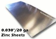 """.030"""" Zinc Sheet - 20 Gauge"""