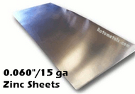 """.060"""" Zinc Sheet -15 Gauge"""