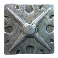 """BD83 - Square Shaped, Carved Pewter Nail/Clavos Head with Star Shaped Detail - Head Size: 1.6"""" Nail Length: 3/4"""" - 25/box"""