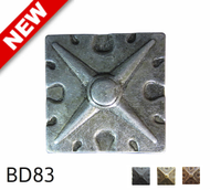 """Square Shaped, Carved Pewter Nail/Clavos Head with Star Shaped Detail - Head Size: 1.6"""" Nail Length: 3/4"""" - 25/box"""