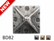 """Square Shaped, Carved Pewter Nail/Clavos Head with Star Shaped Detail - Head Size: 1.2"""" Nail Length: 3/4"""" - 40/box"""
