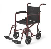 "Aluminum Transport Chair with 8"" Wheels,Red,F: 8   R: 8"