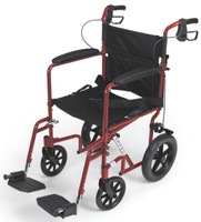 "Aluminum Transport Chair with 12"" Wheels,Red,F: 8   R: 12"