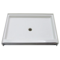 "Aquarius 54"" x 34"" Gelcoat Shower Base With 5"" Easy-Step Threshold Center Drain - G5434SH PAN 