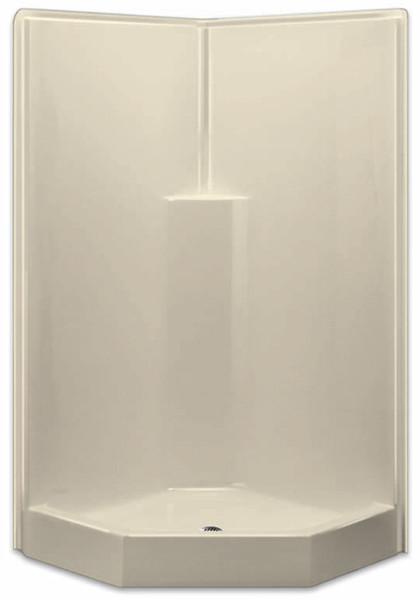 Aquarius AcrylX™ Corner Neo-Angle Shower 39.5W x 39.5D x 78.5H Molded Soap Ledge Center Drain | G3892SHNA
