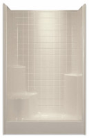 Aquarius Gelcoat 48 x 35.875 Residential Shower Simulated Tile Pattern w/ Right Side Molded Seat & Center Drain - G4800SH1STileR