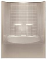 Aquarius ACRYLX™ 60 x 42 Tub Shower Combo Simulated Tile Pattern Right Side Drain G6042TSTileR