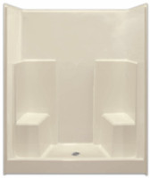 Aquarius Gelcoat 60 x 35.5 Residential Shower Smooth Wall w/ 2 Molded Seats & Center Drain - G6036SH2S