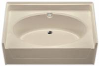 Aquarius 60 x 37 Residential Gelcoat Oval Soaking Tub - Drain Center - G6037TO