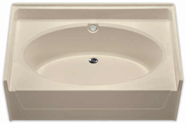 Aquarius 60 x 37 Residential Gelcoat Oval Soaking Tub - Drain Center - G6037TO