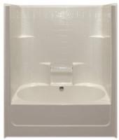 Aquarius AcrylX™ 60 x 43.25 Tub Shower Combo Simulated Tile Pattern Center Drain G6042TSCDTile