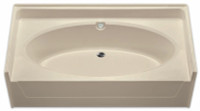 Aquarius 72 x 37 Residential Gelcoat Oval Soaking Tub - Drain Center - G7237TO