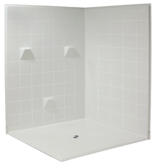 Aquarius 61 x 61 HUD Compliant Multi-Piece Dual Entry Gelcoat Shower