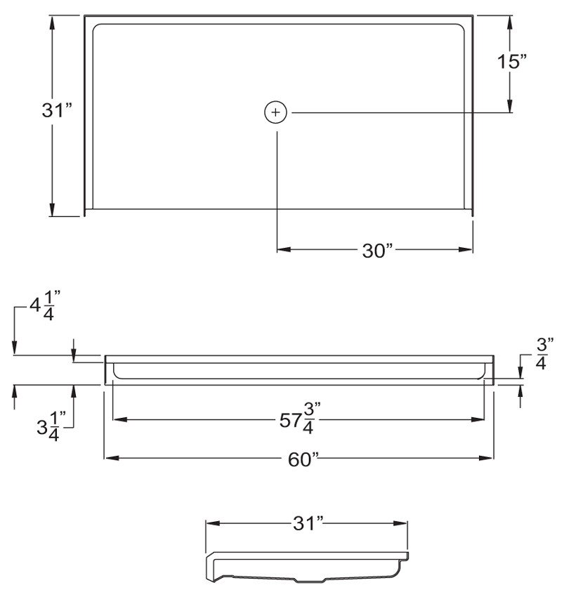 Aquarius MPB 6030 BF .75 C | 60W x 31D x 4.25H | Five foot AcrylX™ barrier-free shower Base | EasyBase™ | Center Drain