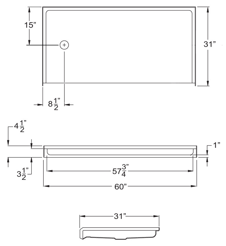 """Aquarius 60 x 30 Gelcoat Shower Base With 1"""" Barrier Free Threshold - Left Drain - MPB 6030 BF 1.0 L"""