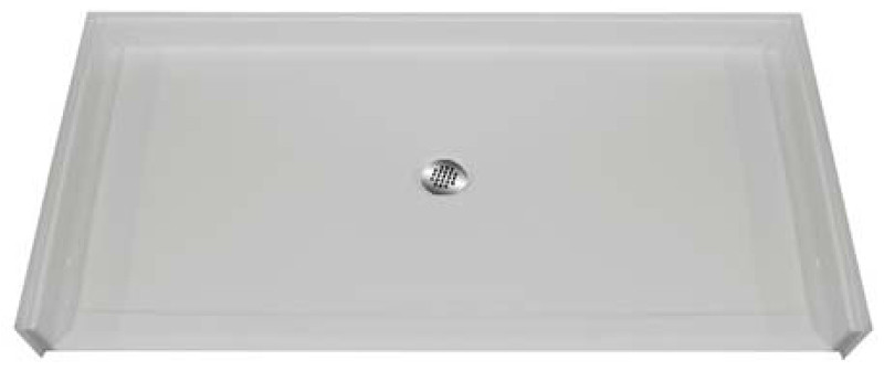 """Aquarius 60 x 36 Gelcoat Shower Base With .875"""" Barrier Free Threshold - Center Drain - MPB 6036 BF .875"""