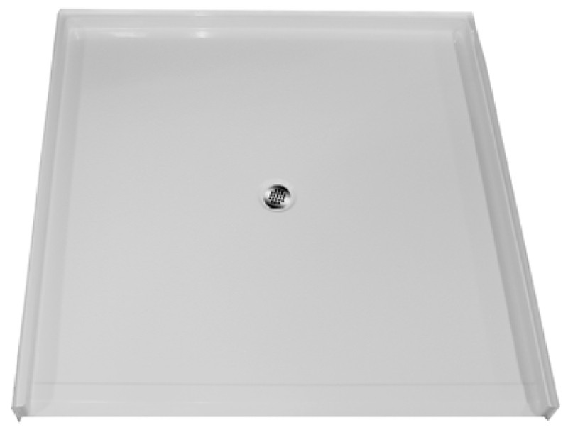 """Aquarius 60 x 60 Gelcoat Shower Base With 1.125"""" Barrier Free Threshold - Center Drain - MPB 6060 BF 1.125"""