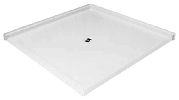 """Aquarius 60 x 60 Dual Entry Gelcoat Shower Base With 1.25"""" Barrier Free Threshold - Center Drain - MPB 6060 BF DE 1.25"""