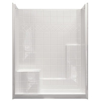 """Aquarius Choose Home Series 60 x 33 Gelcoat Shower Stall Tile Pattern Wall 4"""" Threshold Comfort Height Seat - CHM 6032 SH"""