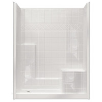 """Aquarius Choose Home Series 60 x 36 Gelcoat Shower Stall Tile Pattern Wall 4"""" Threshold Comfort Height Seat - CHM 6036 SH"""